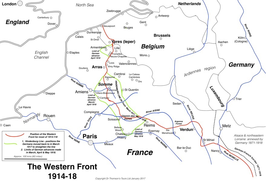 Map Of France Vimy.The Somme To Ypres A Sample Itinerary
